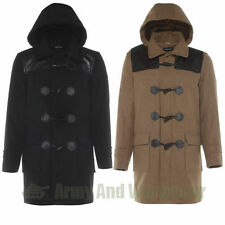 WOOL DUFFLE TOGGLE COAT HOODED MENS FAUX LEATHER SHOULDER PATCH WARM LINED PARK