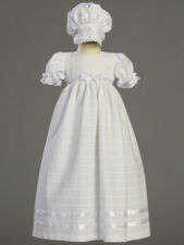 Infant Girls Embroidered Cotton Christening Baptism Gown Dress & Bonnet