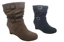 Ladies Boots No Shoes Lark Zip UpMicro Wedge Boot Black or Taupe Size 6-11