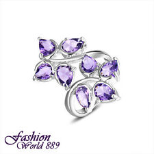 Flower Shape Silver Plated Mystical Purple Amethyst Ring Size 7 8 9