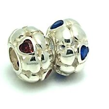New Sterling Silver 925 Cubic Zirconia Stones Hearts Charm Bead