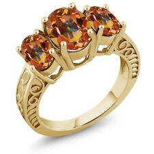 3.40 Ct Oval Ecstasy Mystic Topaz 18K Yellow Gold Plated Silver Ring