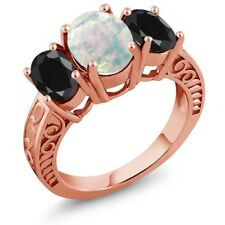 2.74 Ct White Simulated Opal Black Sapphire 18K Rose Gold Plated Silver Ring