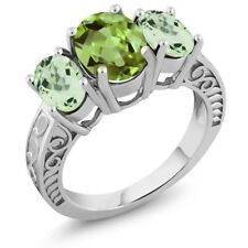 3.30 Ct Oval Green Peridot Green Amethyst 925 Sterling Silver Ring