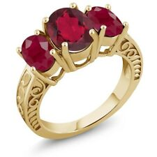 3.84 Ct Oval Red Mystic Quartz Red Ruby 18K Yellow Gold Plated Silver Ring