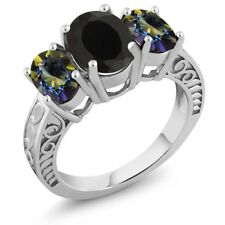 3.60 Ct Oval Black Onyx Blue Mystic Topaz 925 Sterling Silver Ring