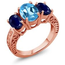 3.84 Ct Oval Swiss Blue Topaz Blue Sapphire 18K Rose Gold Plated Silver Ring