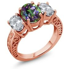 3.70 Ct Oval Green Mystic Topaz White Topaz 18K Rose Gold Plated Silver Ring