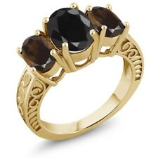 4.04 Ct Black Sapphire Brown Smoky Quartz 18K Yellow Gold Plated Silver Ring
