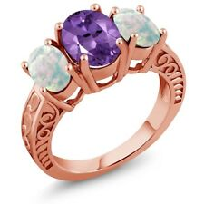2.92 Ct Oval Amethyst and White Simulated Opal 18K Rose Gold Plated Silver Ring