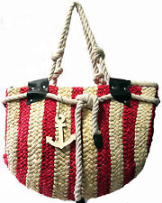 New Branded Moda Red Stripes Navy Straw Bag with Anchor Pendant