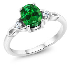 2.16 Ct Oval Green Simulated Emerald 925 Sterling Silver Ring