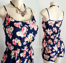 NEW Forever 21 Navy Blue Pink Rose Floral Print Casual Shorts Jumpsuit Romper