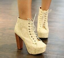 Sexy Lace Lady Platform Pumps Clog High Heels Lace-Up Lady Ankle Boots Shoes 064