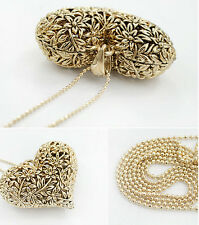 Fashion Lady Girls Fashion Chic 3D Big Hollow Heart Long Chain Sweater Necklace