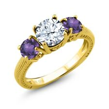 9.40 Ct Round White Topaz Purple Amethyst 18K Yellow Gold Plated Silver Ring