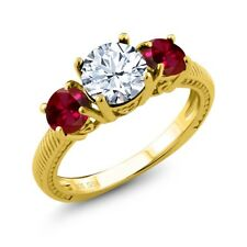 2.60 Ct Round White Topaz Red Created Ruby 18K Yellow Gold Plated Silver Ring