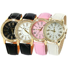 Womens Mens Graceful Golden Rhinestone Geneva Roman Numerals Quartz Wrist Watch