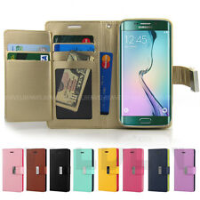 Dual Pocket Wallet Leather Book Flip Case Cover for Apple iPhone Samsung LG