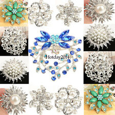 Fashion Rhinestone Crystal Flower Pearl Wedding Bridal Bouquet Silver Brooch Pin