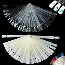 50 Clear False Display Nail Art Fan Wheel Polish Practice Color Pop Tip Sticks