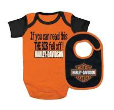 Harley-Davidson Baby Boy's Interlock B&S Creeper & Bib Set, Orange 3060413