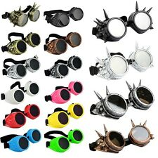 Retro Welding Cyber Round Goggles Goth Steampunk Style Cosplay Antique Spikes