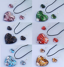 wholesale Love Heart Lampwork Glass Women Jewelry Pendant Necklace Earrings Set