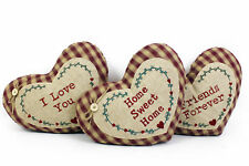 Gingham Heart Shaped Check Cushions 34 x 24 cm 100% Polyester 3 Designs retreat