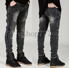 Top Fashion New Mens Stretch Slim Fit Biker Jeans Motorcycle Skinny Jeans Pants