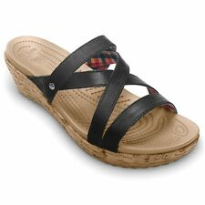 Women's CROCS ALEIGH Mini Wedge Heel Strappy Sandals  Black Leather Slides NEW