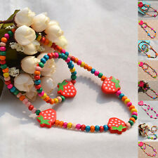 Children's Gift Girls Colorful Wooden Beads Jewelry Necklace Bracelet Party Set