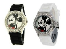 NEW-DISNEY MICKEY MOUSE SILICONE BAND,SILVER TONE S/STEEL+CRYSTAL DIAL WATCH+BOX