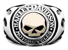 Harley-Davidson Men's Signet Ring, Flames Willie G Skull 14kt Gold Inlay HMR0019