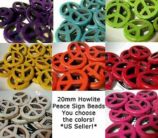 Howlite Peace Sign Beads 20mm Flat Carved Magnesite Turquoise YOU PICK Gemstone