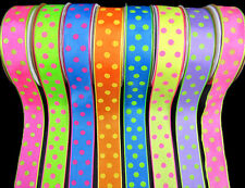 "2 Yards Gumdrop Polka Dot Ribbon 7/8""wide - Pink Green Blue Orange Yellow Purple"