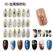 12 PCS Flower 3D Decal Stickers Nail Art Tip DIY Decoration stamping Manicure