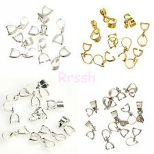 Silver/Golden Tone 18KGP Pinch Clip Bail Connector For Necklace 12/14/16/19mm