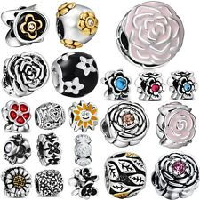 Charm Bead DIY Flowers New Style Fit Women 925 Silver Sterling European Bracelet