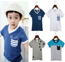 Summer Boy Cotton T Shirt Kids Short Sleeve Print Casual Tees Child Clothes Tops