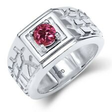 0.50 Ct Round Pink AA Tourmaline AA 14K White Gold Men's Solitaire Ring