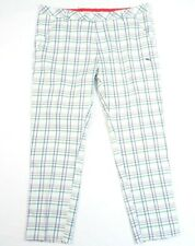 Puma Cell Dry Moisture Wicking White Multi Color Plaid Golf Tech Pants Mens NWT