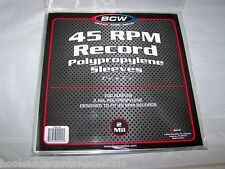 1 Pack of 100 BCW Record Covers 45 RPM Plastic Outer Poly Sleeves Holders New