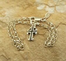 Sterling Silver Fancy Mini Cross Charm on  Sterling 3mm Rolo Bracelet - 0847