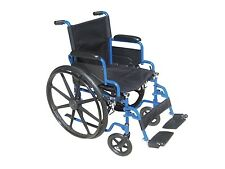 Drive Medical Blue Streak Wheelchair w/Flip Back Desk Arms & Swingaway Leg Rests