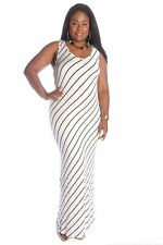 121AVENUE Cute Stripped Maxi Dress 1X 2X 3X Women Plus Size White Casual