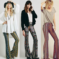 New Retro Boho Hippie Bell Bottom Pants Paisley Stretch Wide Leg Yoga Trousers