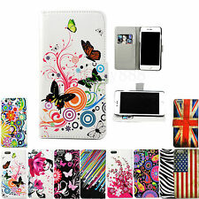 Stand Flip Wallet PU Leather Skin Cover Case For Various Apple iPhone Models