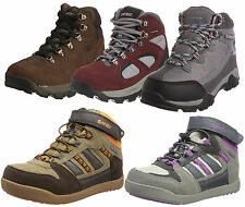 Boys Girls Childrens Hi Tec Leather Waterproof Ankle Hiking Boots Trainers Shoes