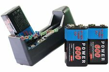 4x 9V 9 Volt 600mAh Power Ni-Mh Rechargeable Battery PPS block + AA 123A Charger